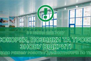 Спорткомплексы Осокорки, Позняки и Троещина открываются после карантина – 8 июля